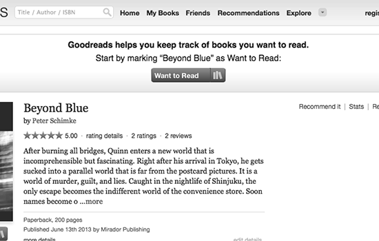 Goodreads Page for Beyond Blue